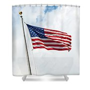 Usa Flag On Blue Sky With Clouds Shower Curtain