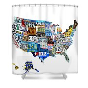 Usa License Plates Map 4p Shower Curtain