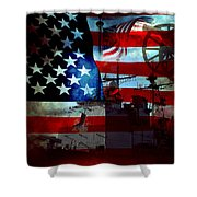 Usa Patriot Flag And War Shower Curtain