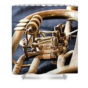 Used Old Trumpet, Closeup Shower Curtain