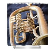 Used Old Trumpet. Vertically. Shower Curtain
