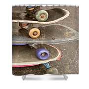 Used Skateboards Shower Curtain