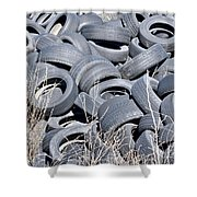 Used Tires At Junk Yard Shower Curtain