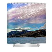 Ushuaia, Ar, Clouds Over Mountains Shower Curtain