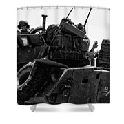Usmc On The Move In A Lav-25 Shower Curtain