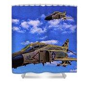 Usn F-4 Phantom II Over Vietnam - Oil Shower Curtain