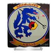 Usn Seawolves Logo Shower Curtain