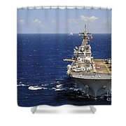 Uss Boxer Leads A Convoy Of Ships Shower Curtain