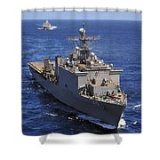 Uss Comstock Leads A Convoy Of Ships Shower Curtain