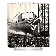 Uss Nautilus Slips Into The Thames Shower Curtain