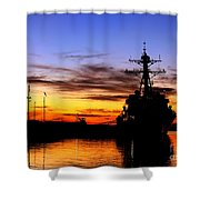 Uss Spruance Is Pierside At Naval Shower Curtain