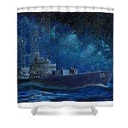 Uss Truxtun Dlgn-35 A Nuclear-powered Cruiser At Sea At Night Under The Milky Way Shower Curtain