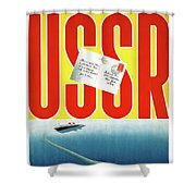 Ussr Vintage Cruise Travel Poster Restored Shower Curtain
