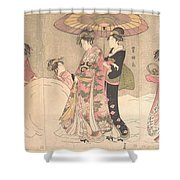 Utagawa Toyokuni I    Courtesans And Attendants Playing In The Snow Shower Curtain