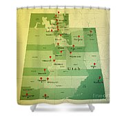 Utah Map Square Cities Straight Pin Vintage Shower Curtain