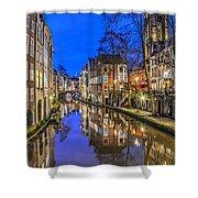 Utrecht From The Bridge By Night Shower Curtain