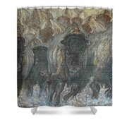Uttc Buffalo Mural Right Panel Shower Curtain
