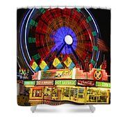 Vacant Carnival Bench Shower Curtain