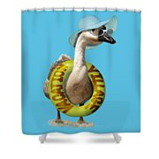 Vacation Time For Summer Goose Shower Curtain