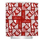 Valentine 4 Square Quilt Block Shower Curtain