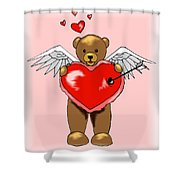 Valentine Bear Shower Curtain