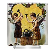 Valentines Day Card, 1900 Shower Curtain