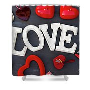 Valentines Day Hearts Shower Curtain