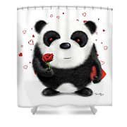 Valentine's Panda Shower Curtain