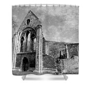 Valle Crucis Abbey Monochrome Shower Curtain