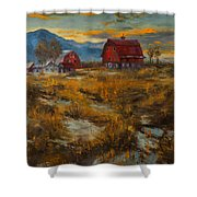 Valley Farm Sunset Shower Curtain