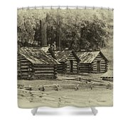 Valley Forge Barracks In Sepia Shower Curtain
