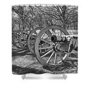 Valley Forge Battery Blackened White Shower Curtain