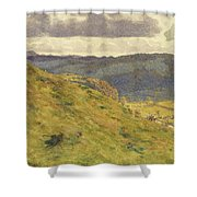Valley Of The Teme, A Sunny November Morning Shower Curtain