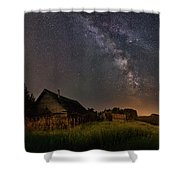 Valley Road Homestead Under A Milky Way Shower Curtain