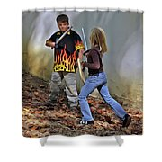 Valor Among Siblings Shower Curtain