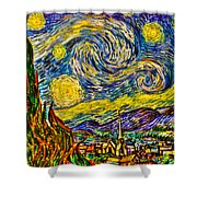 Van Gogh's 'starry Night' - Hdr Shower Curtain