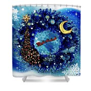 Van Gogh's Starry Night Wreath Shower Curtain