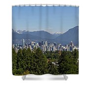Vancouver Bc City Skyline And Mountains View Shower Curtain