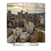 Vancouver Bc Cityscape Aerial View Shower Curtain