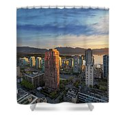 Vancouver Bc Cityscape At Sunset Shower Curtain