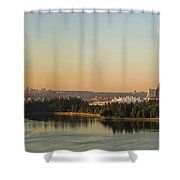 Vancouver Bc Cityscape By Stanley Park Morning View Shower Curtain