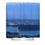 Vancouver Bc Cityscape During Blue Hour Dawn Shower Curtain