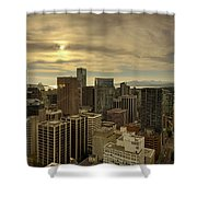 Vancouver Bc Cityscape During Sunset Shower Curtain