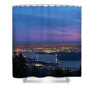 Vancouver Bc Cityscape Lions Gate Bridge Sunset Shower Curtain