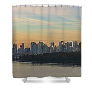 Vancouver Bc Skyline Along Stanley Park At Sunset Shower Curtain