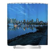 Vancouver Bc Skyline Along Stanley Park Seawall Shower Curtain