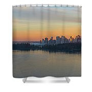 Vancouver Bc Skyline And Stanley Park At Sunset Shower Curtain