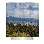 Vancouver Bc Skyline Daytime View Shower Curtain