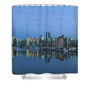 Vancouver Bc Skyline During Blue Hour Panorama Shower Curtain