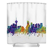 Vancouver British Columbia Skyline Color03 Shower Curtain